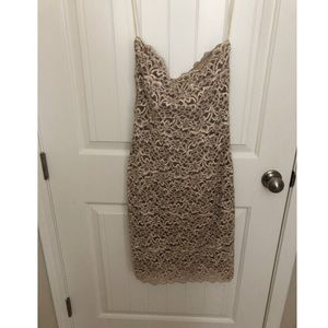 Strapless taupe/cream lace cocktail dress